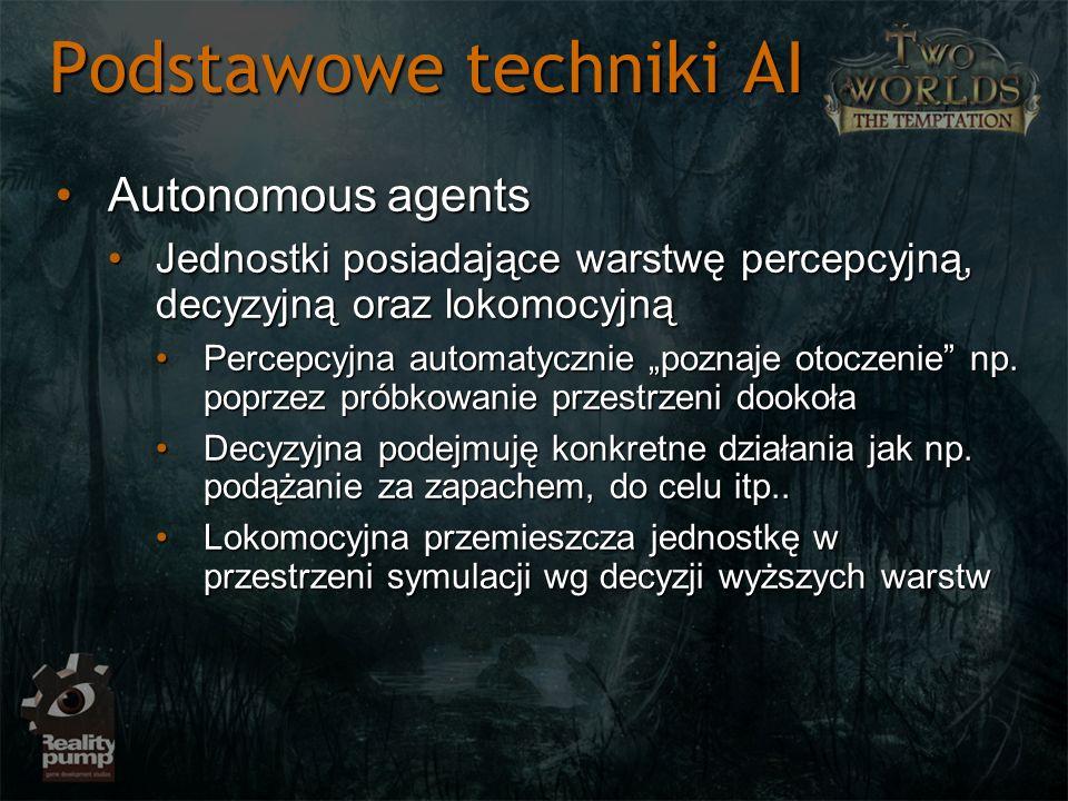 Podstawowe techniki AI Autonomous agentsAutonomous agents Jednostki posiadające warstwę percepcyjną, decyzyjną oraz lokomocyjnąJednostki posiadające w