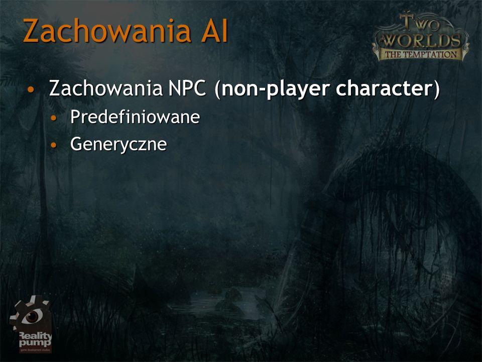 Zachowania AI Zachowania NPC (non-player character)Zachowania NPC (non-player character) PredefiniowanePredefiniowane GeneryczneGeneryczne