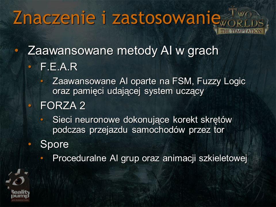 Znaczenie i zastosowanie Zaawansowane metody AI w grachZaawansowane metody AI w grach F.E.A.RF.E.A.R Zaawansowane AI oparte na FSM, Fuzzy Logic oraz p