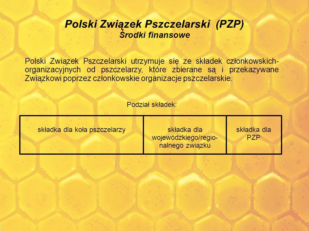 Polski Związek Pszczelarski (PZP) Środki finansowe Polski Związek Pszczelarski utrzymuje się ze składek członkowskich- organizacyjnych od pszczelarzy,