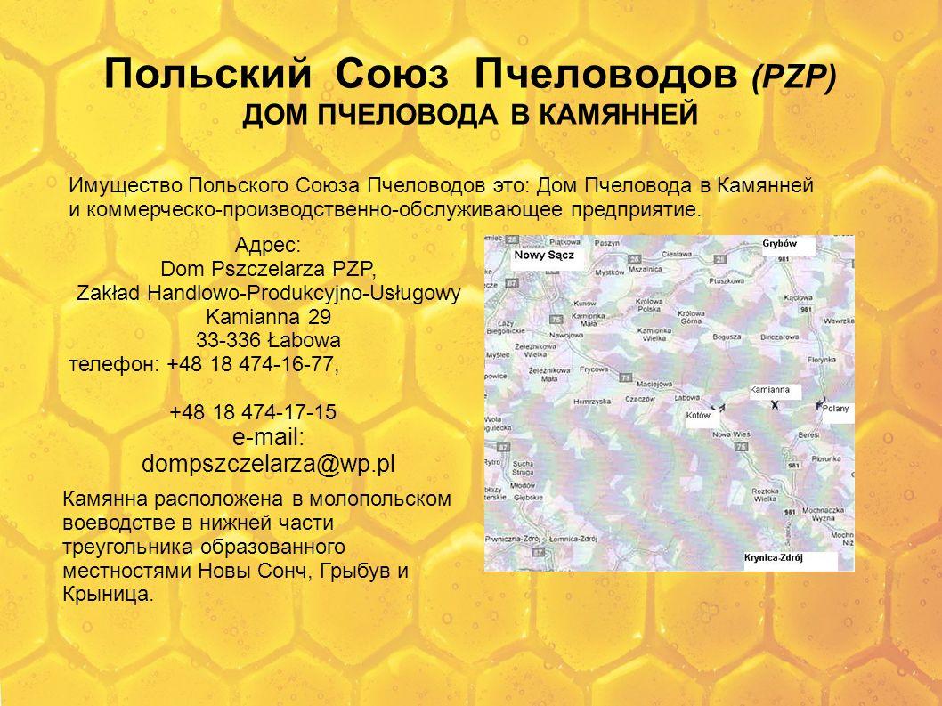 Польский Союз Пчеловодов (PZP) ДОМ ПЧЕЛОВОДА В КАМЯННЕЙ Имущество Польского Союза Пчеловодов это: Дом Пчеловода в Камянней и коммерческо-производствен