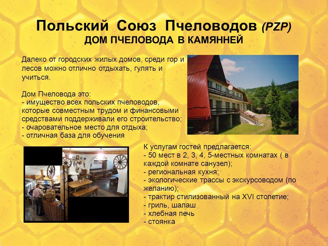 Польский Союз Пчеловодов (PZP) ДОМ ПЧЕЛОВОДА В КАМЯННЕЙ Далеко от городских жилых домов, среди гор и лесов можно отлично отдыхать, гулять и учиться. Д
