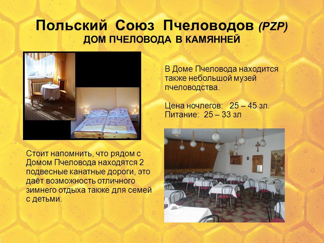 Польский Союз Пчеловодов (PZP) ДОМ ПЧЕЛОВОДА В КАМЯННЕЙ В Доме Пчеловода находится также небольшой музей пчеловодства. Цена ночлегов: 25 – 45 зл. Пита