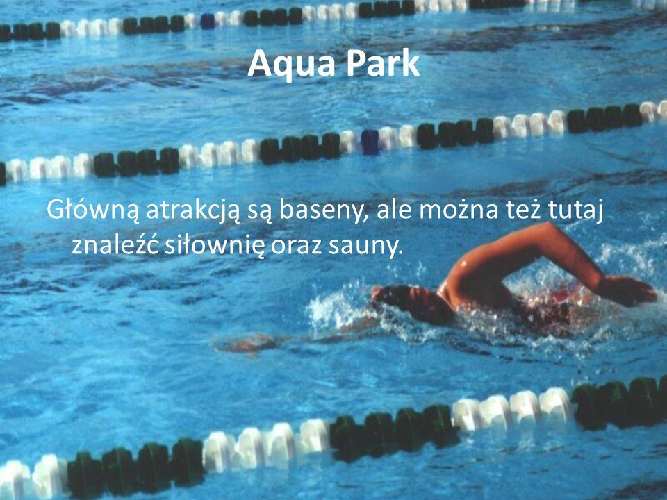 Aqua Park Główną atrakcją są baseny, ale można też tutaj znaleźć siłownię oraz sauny.