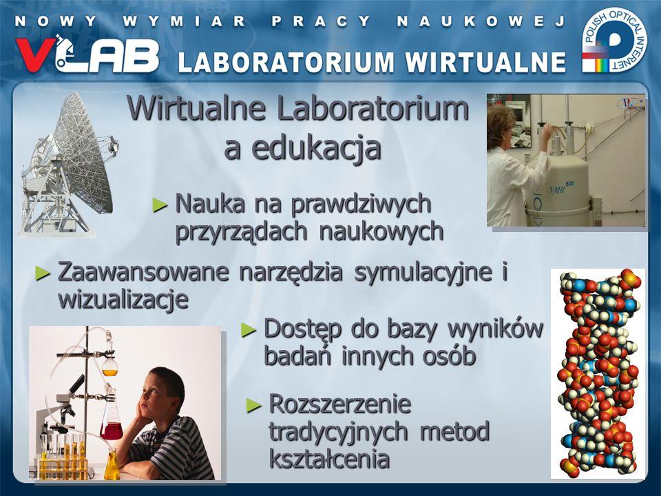 Wirtualne Laboratorium a edukacja Rozszerzenie tradycyjnych metod kształcenia Rozszerzenie tradycyjnych metod kształcenia Dostęp do bazy wyników badań