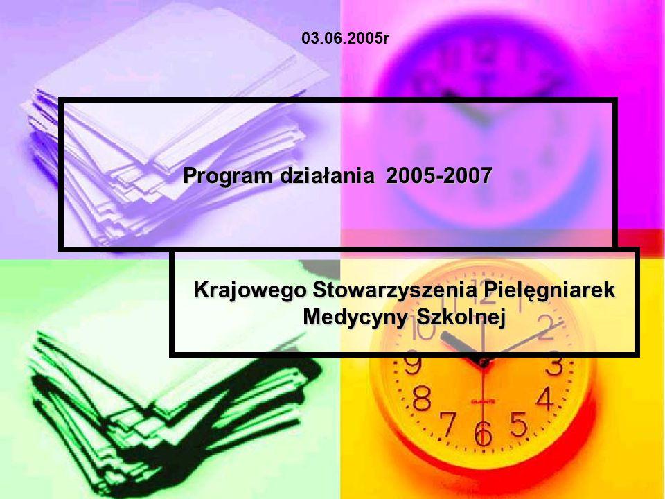 Program działania 2005-2007 Krajowego Stowarzyszenia Pielęgniarek Medycyny Szkolnej 03.06.2005r