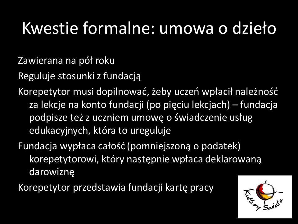 Kwestie formalne: umowa o dzieło Zawierana na pół roku Reguluje stosunki z fundacją Korepetytor musi dopilnować, żeby uczeń wpłacił należność za lekcj