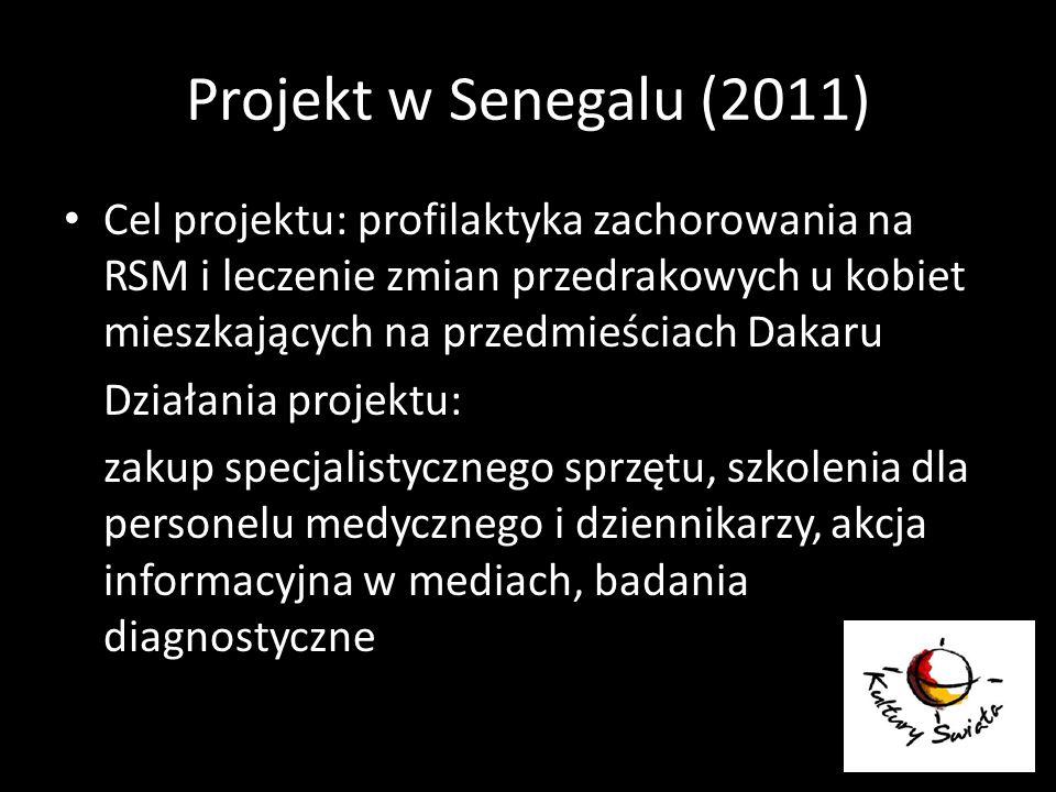 Projekt w Senegalu (2011) Cel projektu: profilaktyka zachorowania na RSM i leczenie zmian przedrakowych u kobiet mieszkających na przedmieściach Dakar