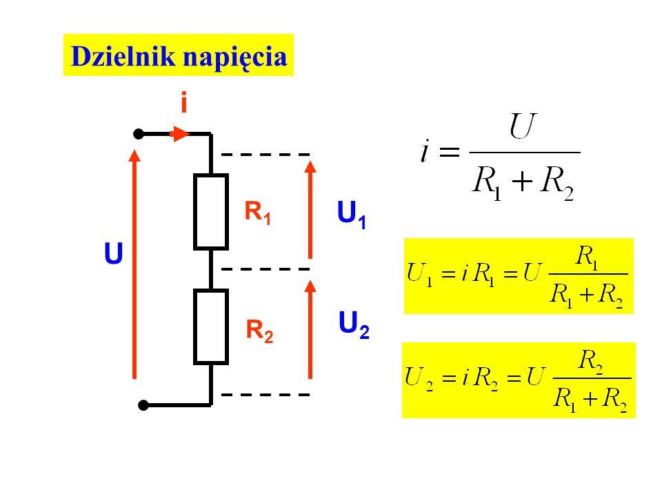Dzielnik napięcia U R1R1 R2R2 U1U1 U2U2 i