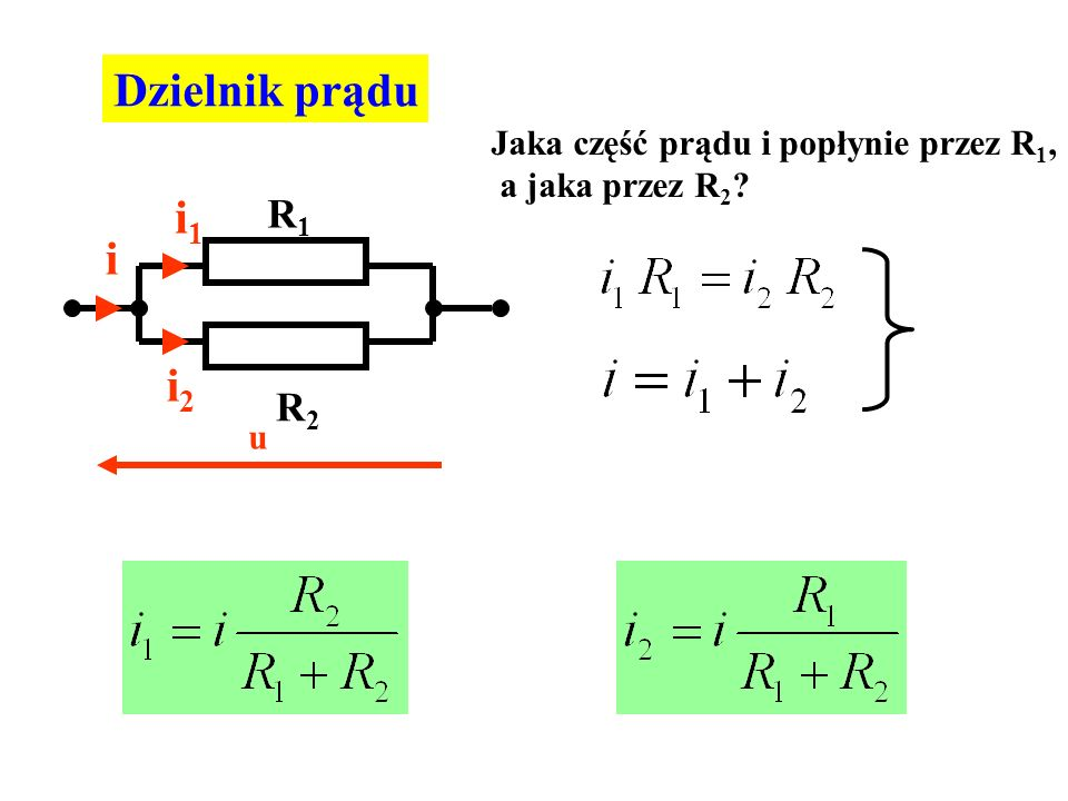 Dzielnik prądu i i1i1 i2i2 u R1R1 R2R2 Jaka część prądu i popłynie przez R 1, a jaka przez R 2 ?
