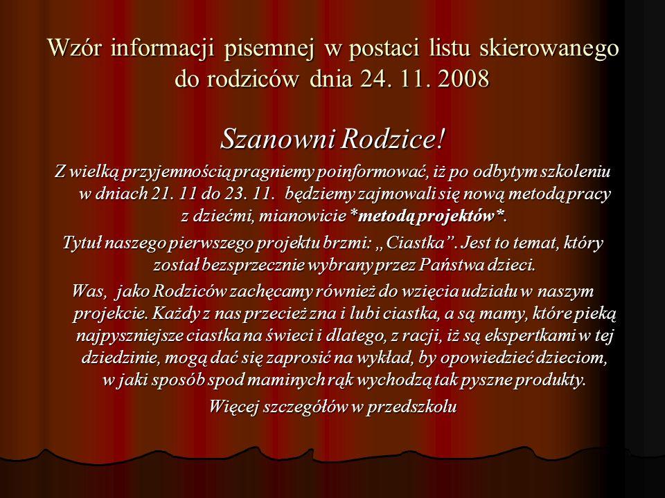 Wzór informacji pisemnej w postaci listu skierowanego do rodziców dnia 24.