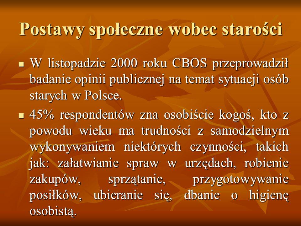Postawy społeczne wobec starości W listopadzie 2000 roku CBOS przeprowadził badanie opinii publicznej na temat sytuacji osób starych w Polsce. W listo