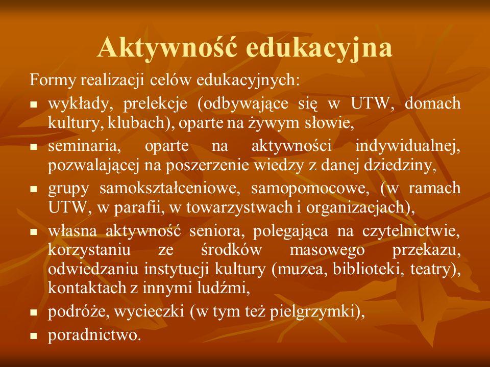 Aktywność edukacyjna Formy realizacji celów edukacyjnych: wykłady, prelekcje (odbywające się w UTW, domach kultury, klubach), oparte na żywym słowie,