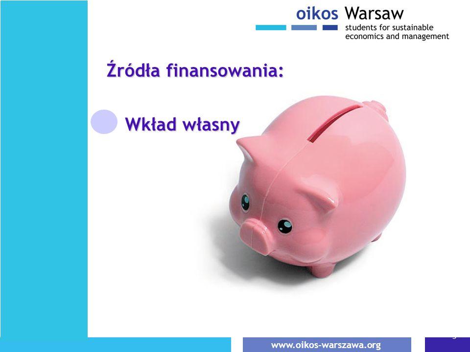 www.oikos-warszawa.org 5 Wkład własny Źródła finansowania: