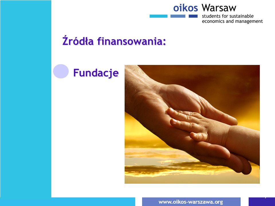 www.oikos-warszawa.org 7 Fundacje Źródła finansowania: