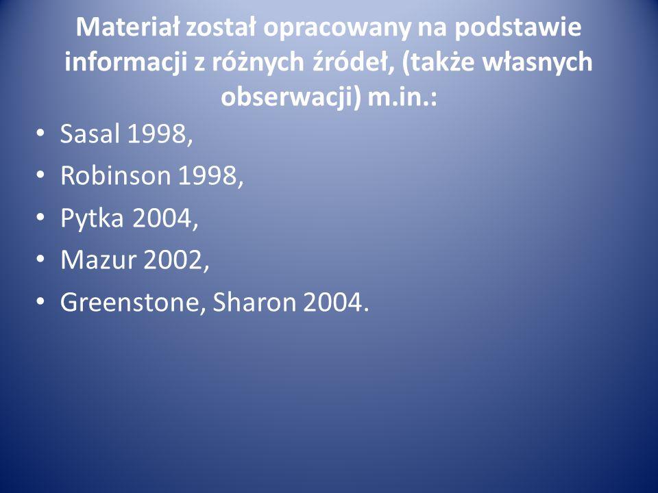 Materiał został opracowany na podstawie informacji z różnych źródeł, (także własnych obserwacji) m.in.: Sasal 1998, Robinson 1998, Pytka 2004, Mazur 2