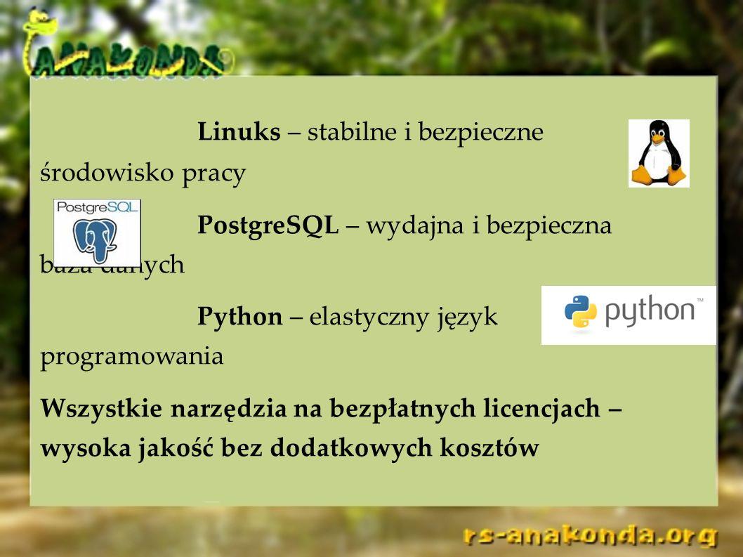 Linuks – stabilne i bezpieczne środowisko pracy PostgreSQL – wydajna i bezpieczna baza danych Python – elastyczny język programowania Wszystkie narzęd