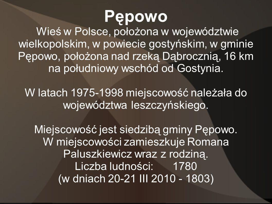 Pępowo Wieś w Polsce, położona w województwie wielkopolskim, w powiecie gostyńskim, w gminie Pępowo, położona nad rzeką Dąbrocznią, 16 km na południow