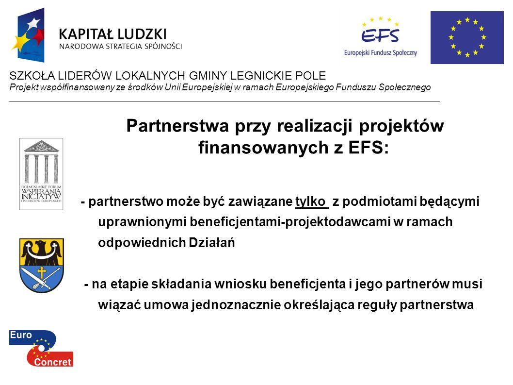 Partnerstwa przy realizacji projektów finansowanych z EFS: - partnerstwo może być zawiązane tylko z podmiotami będącymi uprawnionymi beneficjentami-pr