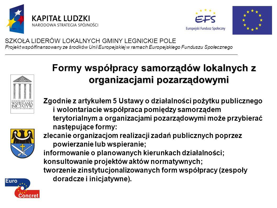 samorządów lokalnych z organizacjami pozarządowymi Formy współpracy samorządów lokalnych z organizacjami pozarządowymi Zgodnie z artykułem 5 Ustawy o