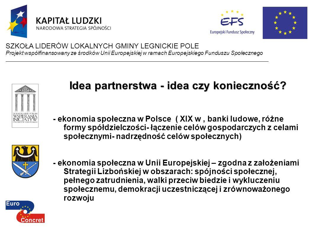 SZKOŁA LIDERÓW LOKALNYCH GMINY LEGNICKIE POLE Projekt współfinansowany ze środków Unii Europejskiej w ramach Europejskiego Funduszu Społecznego Idea p