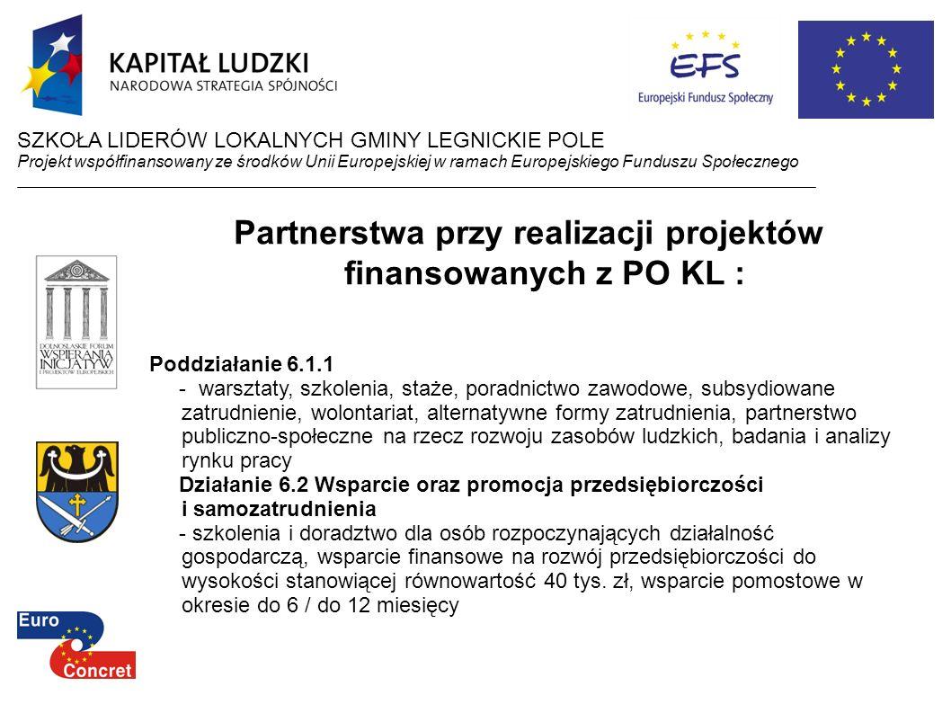 Partnerstwa przy realizacji projektów finansowanych z PO KL : Poddziałanie 6.1.1 - warsztaty, szkolenia, staże, poradnictwo zawodowe, subsydiowane zat