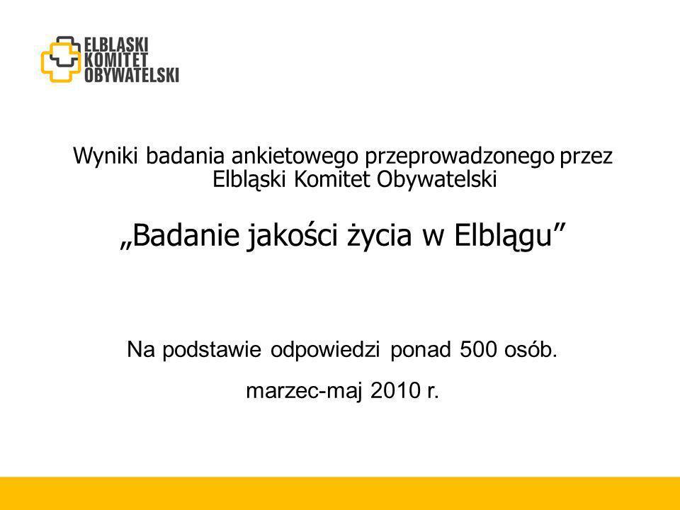 Wyniki badania ankietowego przeprowadzonego przez Elbląski Komitet Obywatelski Badanie jakości życia w Elblągu Na podstawie odpowiedzi ponad 500 osób.