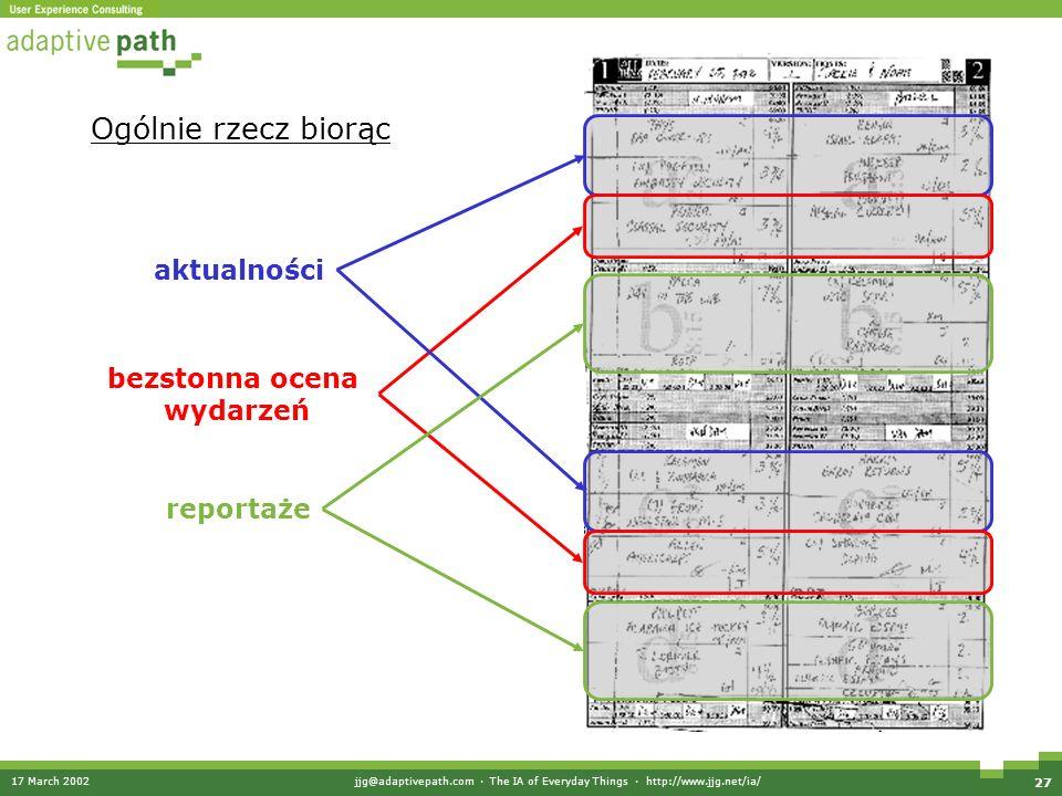 17 March 2002jjg@adaptivepath.com · The IA of Everyday Things · http://www.jjg.net/ia/ 27 Ogólnie rzecz biorąc aktualności bezstonna ocena wydarzeń reportaże