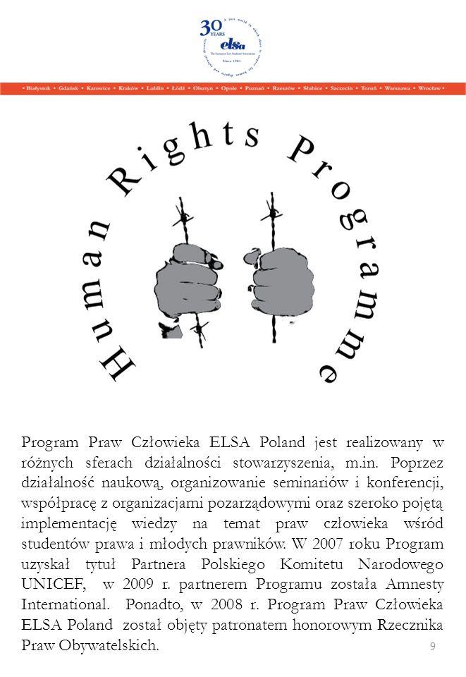 Program Praw Człowieka ELSA Poland jest realizowany w różnych sferach działalności stowarzyszenia, m.in.