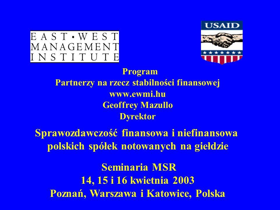 Program Partnerzy na rzecz stabilności finansowej www.ewmi.hu Geoffrey Mazullo Dyrektor Seminaria MSR 14, 15 i 16 kwietnia 2003 Poznań, Warszawa i Kat