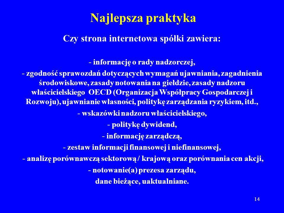 14 Najlepsza praktyka Czy strona internetowa spółki zawiera: - informację o rady nadzorczej, - zgodność sprawozdań dotyczących wymagań ujawniania, zag