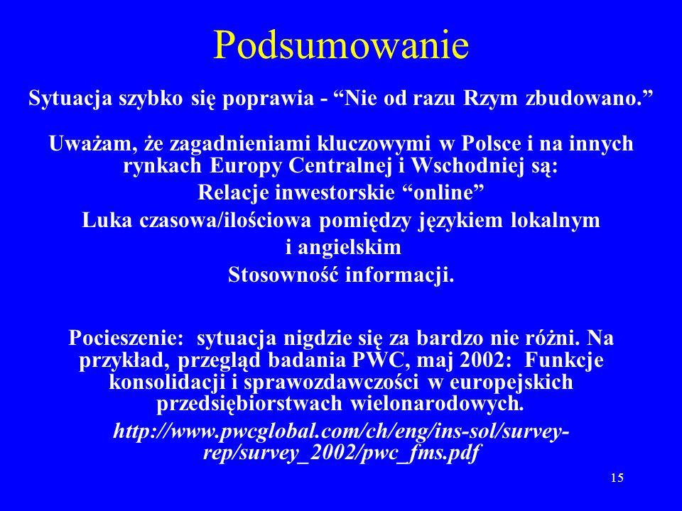 15 Podsumowanie Sytuacja szybko się poprawia - Nie od razu Rzym zbudowano. Uważam, że zagadnieniami kluczowymi w Polsce i na innych rynkach Europy Cen