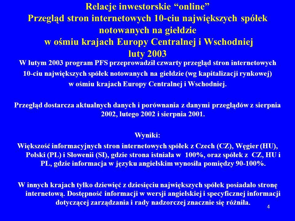 5 Relacje inwestorskie online Przegląd stron internetowych 10-ciu największych spółek notowanych na giełdzie w ośmiu krajach Europy Centralnej i Środkowej luty 2003