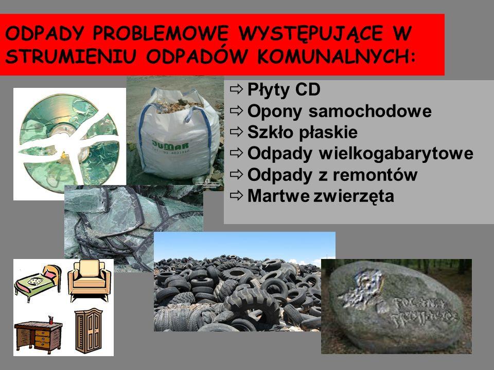 ODPADY PROBLEMOWE WYSTĘPUJĄCE W STRUMIENIU ODPADÓW KOMUNALNYCH: Płyty CD Opony samochodowe Szkło płaskie Odpady wielkogabarytowe Odpady z remontów Mar