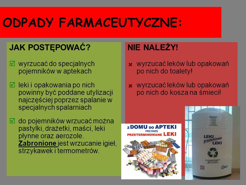ODPADY FARMACEUTYCZNE: JAK POSTĘPOWAĆ? wyrzucać do specjalnych pojemników w aptekach leki i opakowania po nich powinny być poddane utylizacji najczęśc