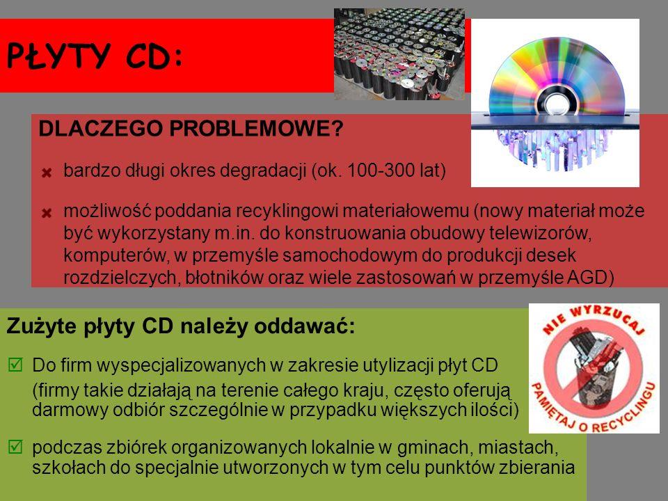 PŁYTY CD: Zużyte płyty CD należy oddawać: Do firm wyspecjalizowanych w zakresie utylizacji płyt CD (firmy takie działają na terenie całego kraju, częs