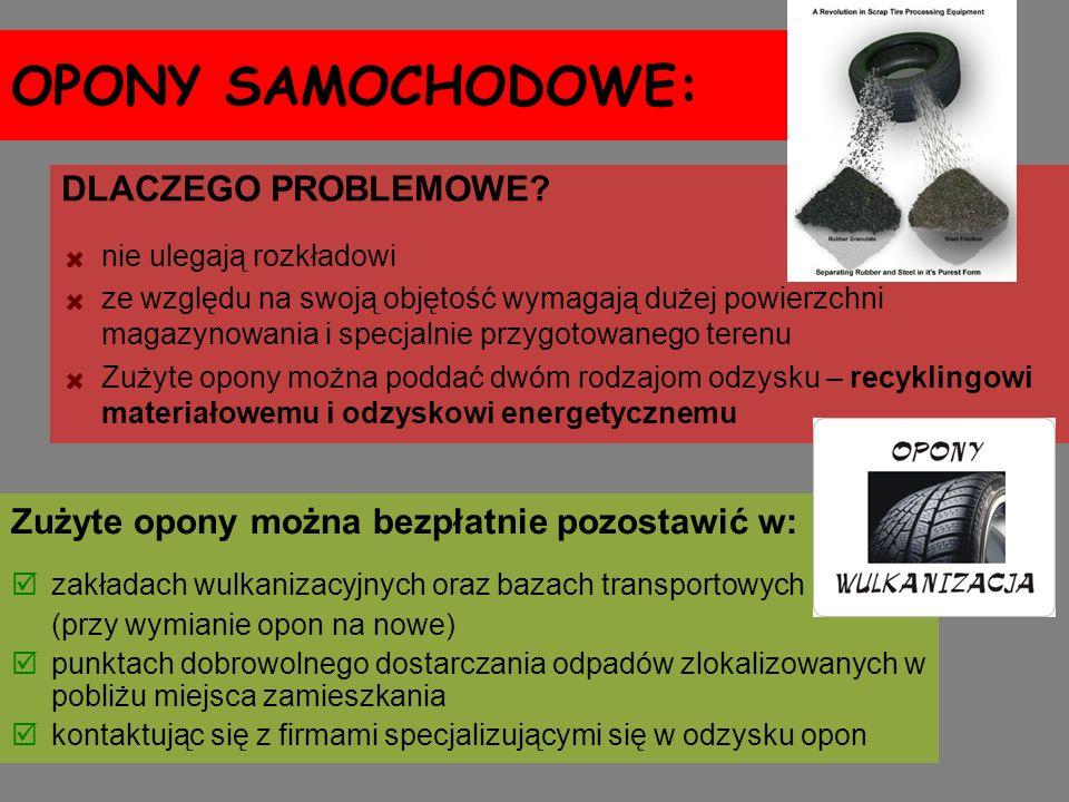 OPONY SAMOCHODOWE: Zużyte opony można bezpłatnie pozostawić w: zakładach wulkanizacyjnych oraz bazach transportowych (przy wymianie opon na nowe) punk