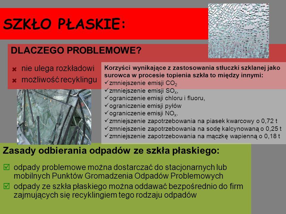 SZKŁO PŁASKIE: Zasady odbierania odpadów ze szkła płaskiego: odpady problemowe można dostarczać do stacjonarnych lub mobilnych Punktów Gromadzenia Odp