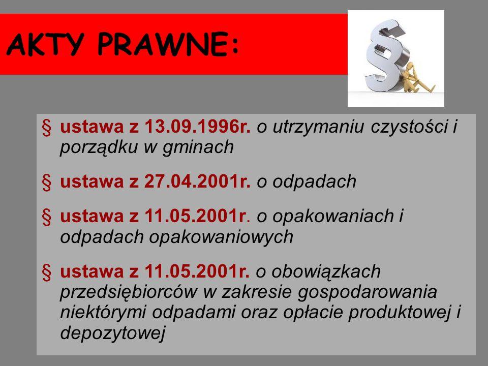AKTY PRAWNE: §ustawa z 13.09.1996r. o utrzymaniu czystości i porządku w gminach §ustawa z 27.04.2001r. o odpadach §ustawa z 11.05.2001r. o opakowaniac