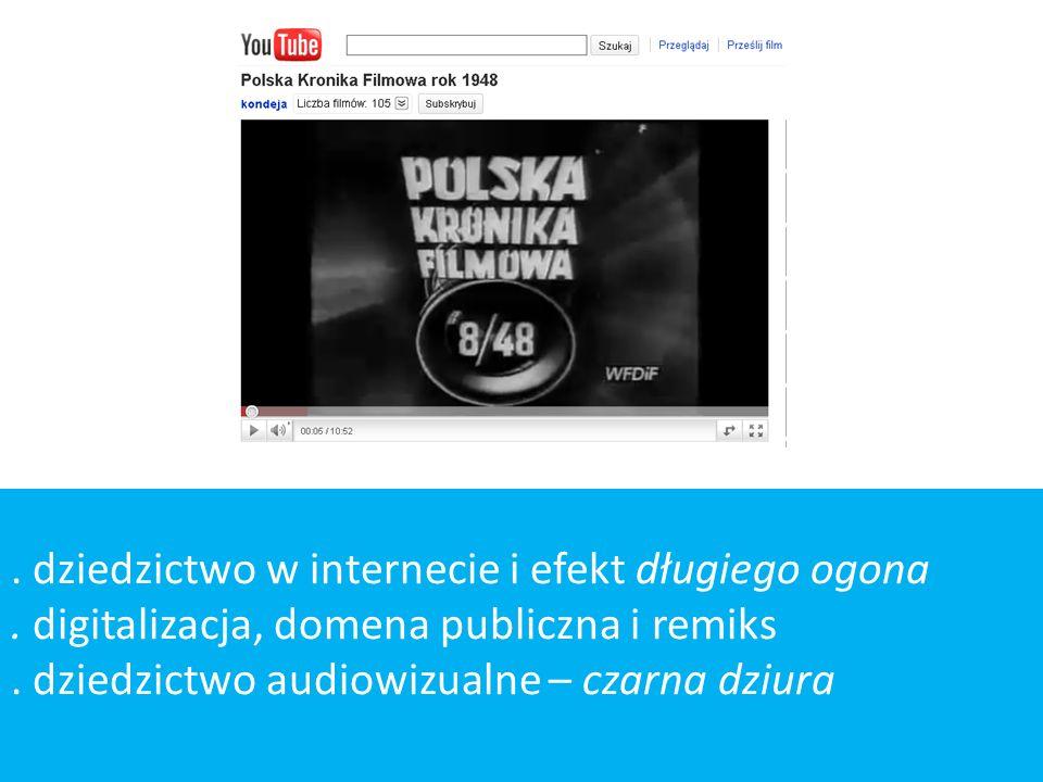 . dziedzictwo w internecie i efekt długiego ogona. digitalizacja, domena publiczna i remiks. dziedzictwo audiowizualne – czarna dziura