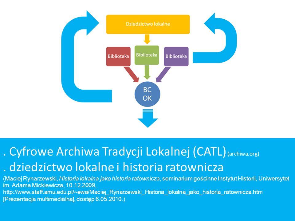 . Cyfrowe Archiwa Tradycji Lokalnej (CATL) (archiwa.org). dziedzictwo lokalne i historia ratownicza (Maciej Rynarzewski, Historia lokalna jako histori