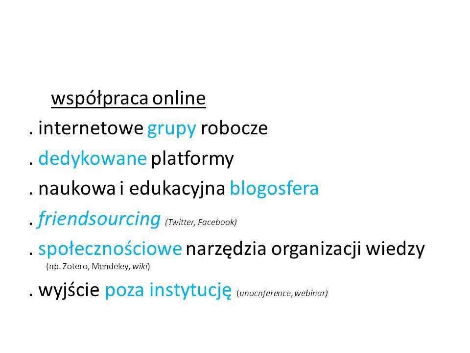 współpraca online. internetowe grupy robocze. dedykowane platformy. naukowa i edukacyjna blogosfera. friendsourcing (Twitter, Facebook). społecznościo