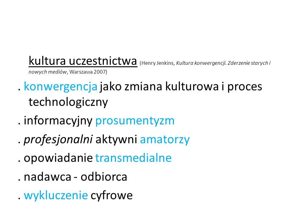 kultura uczestnictwa (Henry Jenkins, Kultura konwergencji. Zderzenie starych i nowych mediów, Warszawa 2007). konwergencja jako zmiana kulturowa i pro