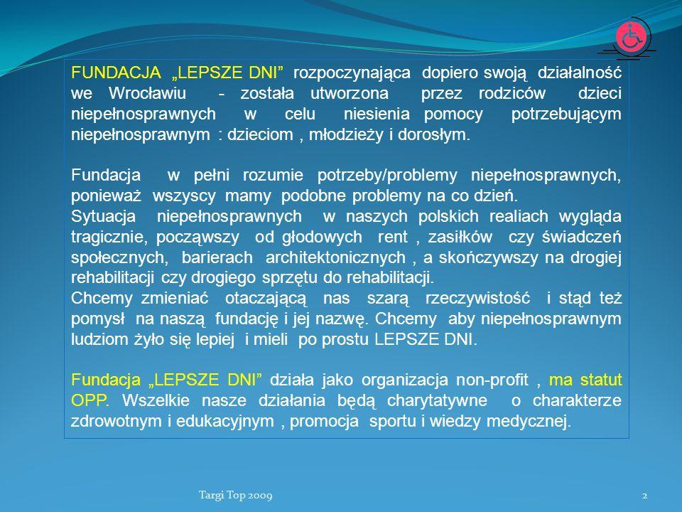 Targi Top 20092 FUNDACJA LEPSZE DNI rozpoczynająca dopiero swoją działalność we Wrocławiu - została utworzona przez rodziców dzieci niepełnosprawnych