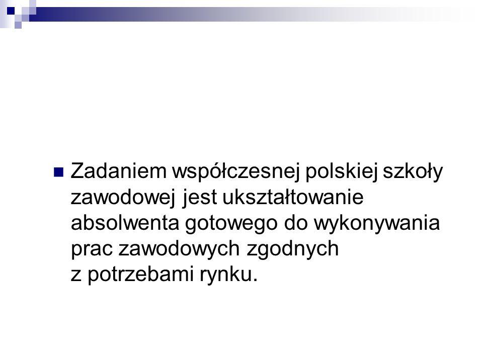 Zadaniem współczesnej polskiej szkoły zawodowej jest ukształtowanie absolwenta gotowego do wykonywania prac zawodowych zgodnych z potrzebami rynku.