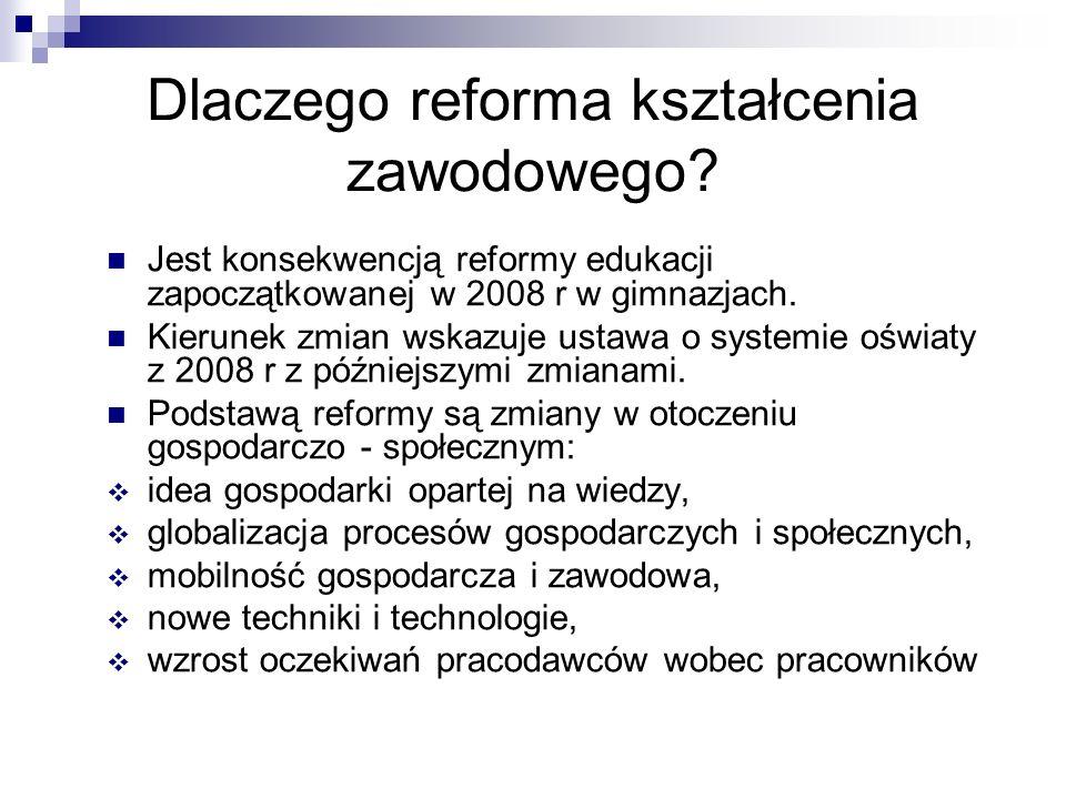 Dlaczego reforma kształcenia zawodowego? Jest konsekwencją reformy edukacji zapoczątkowanej w 2008 r w gimnazjach. Kierunek zmian wskazuje ustawa o sy