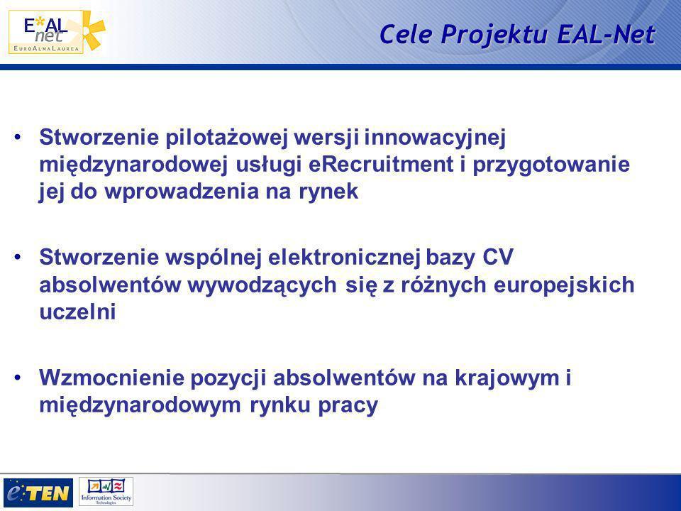 Cele Projektu EAL-Net Stworzenie pilotażowej wersji innowacyjnej międzynarodowej usługi eRecruitment i przygotowanie jej do wprowadzenia na rynek Stworzenie wspólnej elektronicznej bazy CV absolwentów wywodzących się z różnych europejskich uczelni Wzmocnienie pozycji absolwentów na krajowym i międzynarodowym rynku pracy