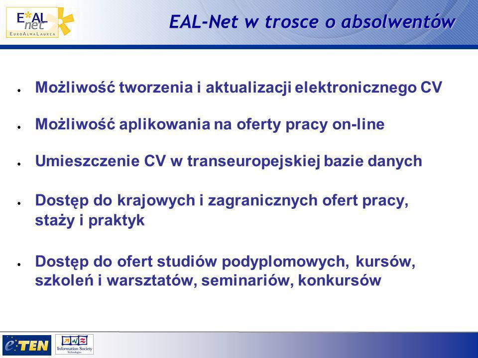 EAL-Net w trosce o absolwentów Możliwość tworzenia i aktualizacji elektronicznego CV Możliwość aplikowania na oferty pracy on-line Umieszczenie CV w transeuropejskiej bazie danych Dostęp do krajowych i zagranicznych ofert pracy, staży i praktyk Dostęp do ofert studiów podyplomowych, kursów, szkoleń i warsztatów, seminariów, konkursów