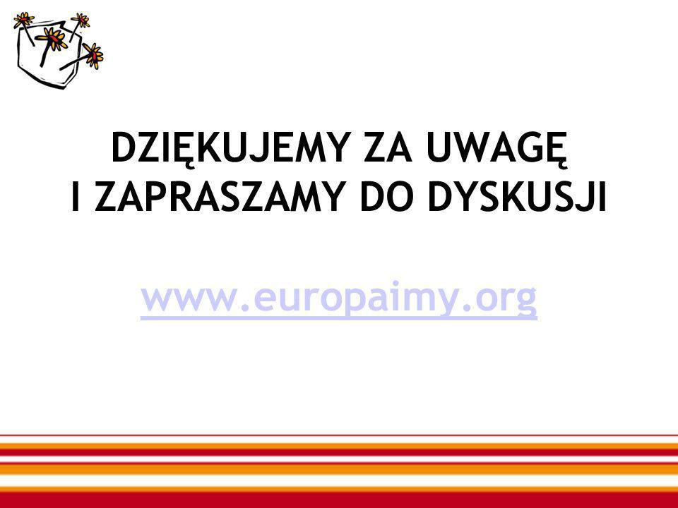 DZIĘKUJEMY ZA UWAGĘ I ZAPRASZAMY DO DYSKUSJI www.europaimy.org www.europaimy.org