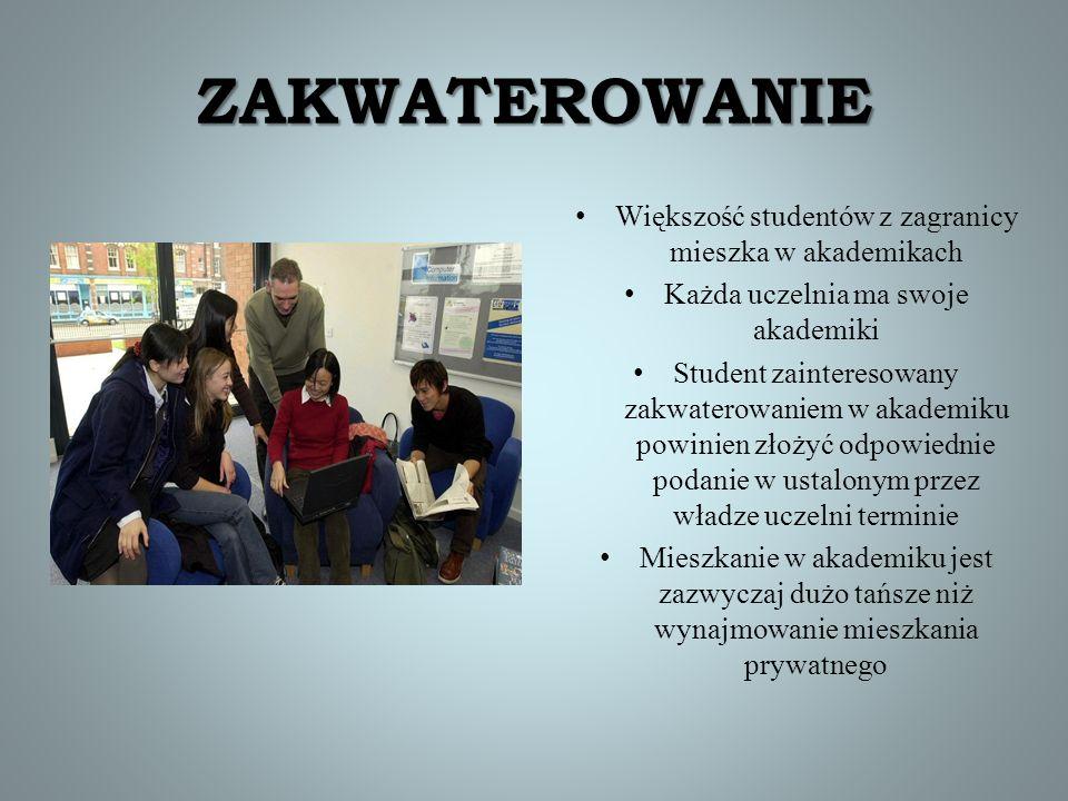 ZAKWATEROWANIE Większość studentów z zagranicy mieszka w akademikach Każda uczelnia ma swoje akademiki Student zainteresowany zakwaterowaniem w akadem
